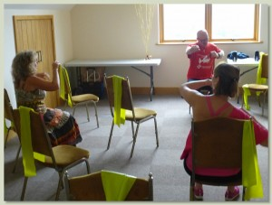 The Brynach Conference Room set up for a seated exercise class