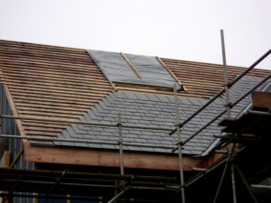 Sheeted, battoned and slates begun