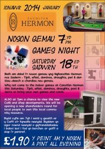 Games Night / Noson Gemau 7pm 18yd January/Ionawr
