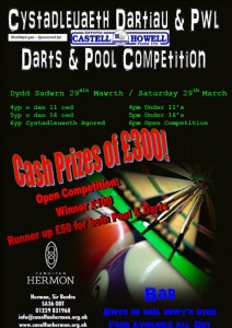 Canolfan Hermon, Pool, darts, competition,