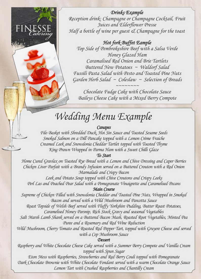 Weddings at Canolfan Hermon ~ Priodasau yn Canolfan Hermon ~ Example Menu Finesse Catering ~ beautiful foods