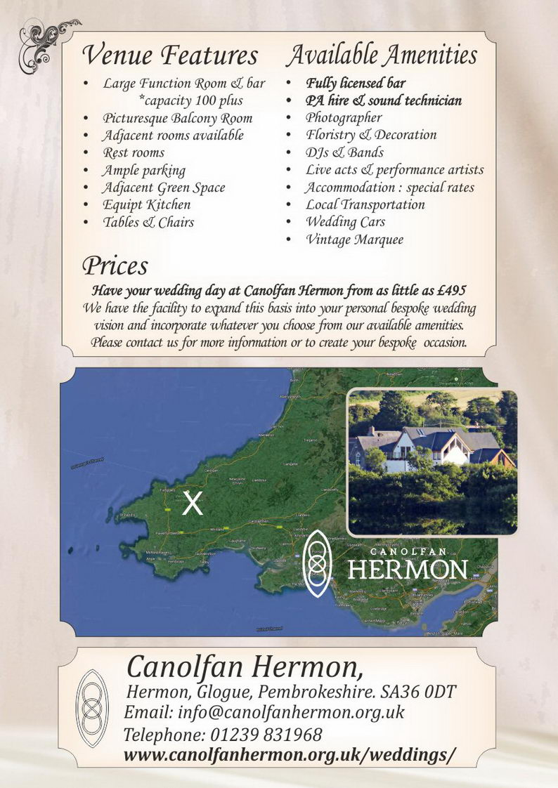 Weddings at Canolfan Hermon ~ Priodasau yn Canolfan Hermon ~ features, amenities & location